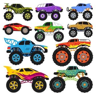 Monster truck вектор мультяшный автомобиль или автомобиль и экстремальный транспорт иллюстрации набор тяжелых monstertruck с большими колесами на белом фоне