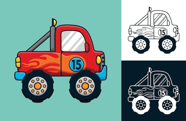 炎の装飾が施されたモンスタートラック。フラットアイコンスタイルのベクトル漫画イラスト
