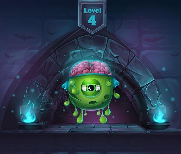 Монстр с мозгами в arch magic на следующем 4-м уровне. для игр, пользовательского интерфейса, дизайна.
