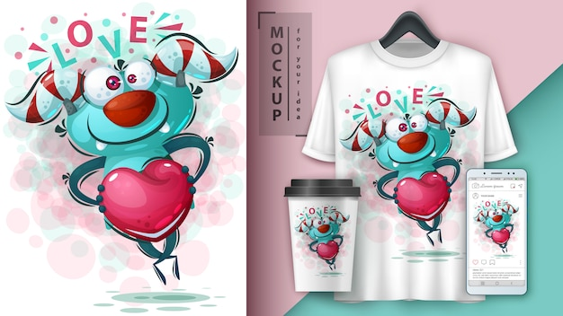 Monster with heart illustration and merchandising