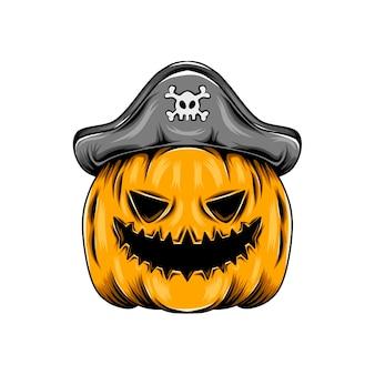 Монстр желтая тыква в пиратской шляпе для вдохновения на хэллоуин