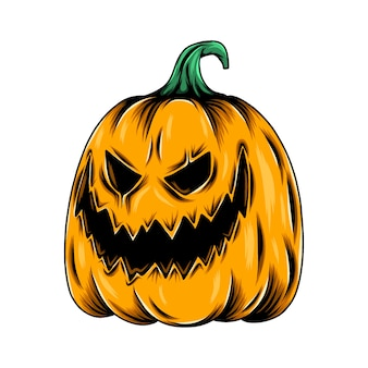 Monster yellow pumpkin with the scary face and big smile for the halloween inspiration Premium Vector