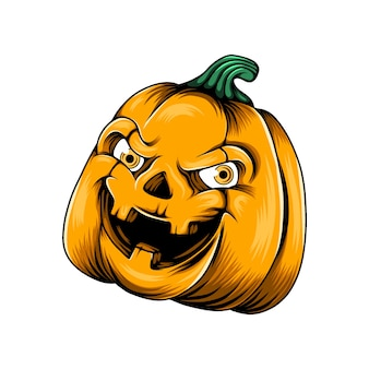 Monster yellow pumpkin with two yellow eyes and the holes nose in his face