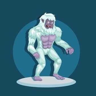 Монстр йети, он же снежный человек в снегу. концепция персонажа мифологического существа в иллюстрации шаржа