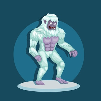 Monster yeti aka bigfoot in snow. mythological creature character concept in cartoon illustration