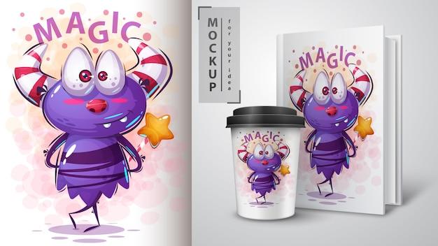 Monster мультипликационный персонаж иллюстрации и мерчендайзинга