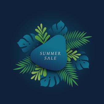 Карта летней распродажи с тропическими листьями и тропическими листьями монстера и папоротник или шаблон баннера
