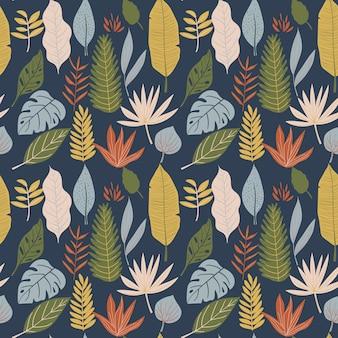 Monstera, banana leaf, foliage seamless pattern