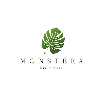 Monstera deliciosa deliciousa leaf logo