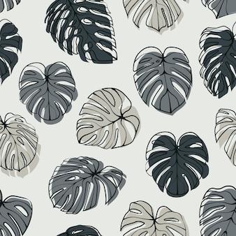 モンステラデリシオサの葉のシームレスなパターン。