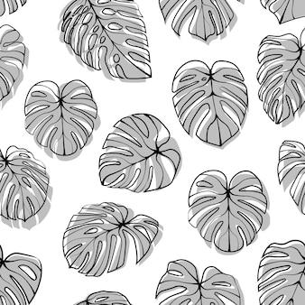 Monstera deliciosa leaf seamless pattern