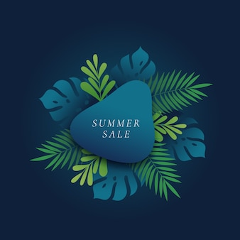 Monstera and fern palm tropical leaves summer sale card or banner template