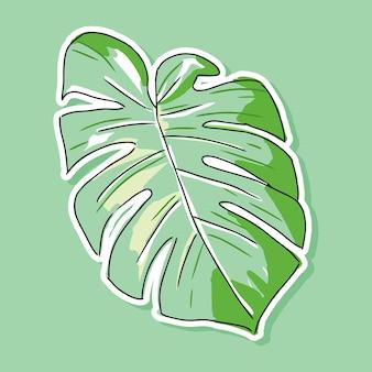 モンステラの葉の漫画のデザイン