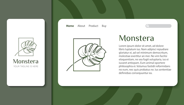 Monstera leaf logo for mobile app and landing page template