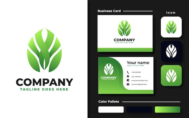 Monstera leaf logo template and business card