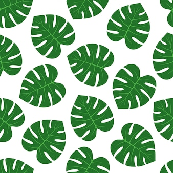 Monstera leaf seamless pattern vector design