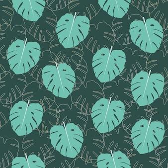 Monstera leaf seamless pattern