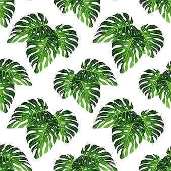 Monstera leaf seamless pattern.