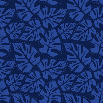 Monstera leaf seamless pattern.