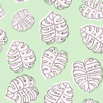 Monstera leaf wallpaper background seamless pattern wrapping