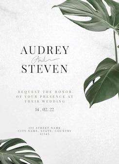 Monstera leaf wedding invitation card template