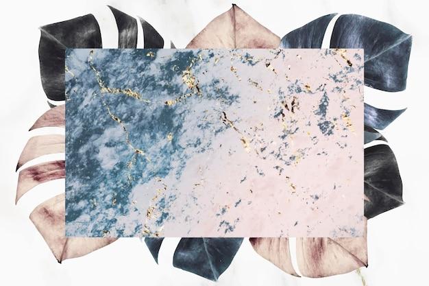 ピンクと青の大理石のテクスチャ背景ベクトルとモンステラの葉