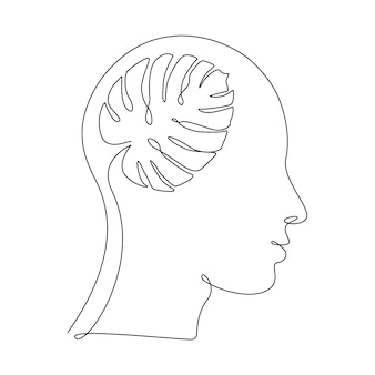 Monstera leave in human head in one line drawing. concept of ecology idea, clean mind, self development and successful mindset. abstract vector illustration