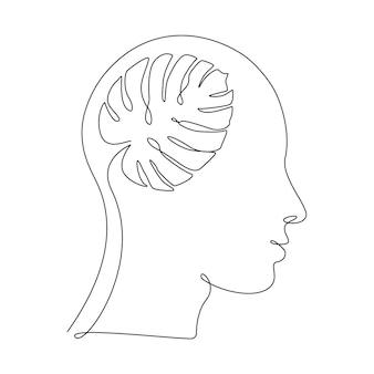 Monstera는 인간의 머리에 하나의 선 그림을 남깁니다. 생태학적 아이디어, 깨끗한 마음, 자기 개발 및 성공적인 사고 방식의 개념. 추상적인 벡터 일러스트 레이 션