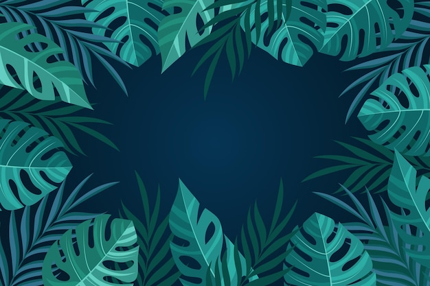 Monstera leaves copy space background for video communication