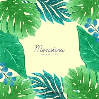 モンステラの葉のフレームの背景