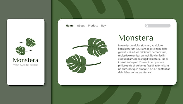 Monstera leaves logo for mobile app and landing page template