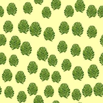 モンステラの葉のパターン。シームレスな自然のエキゾチックな背景。ファブリックデザイン、テキスタイルプリント、ラッピング、カバーの装飾的な背景。ベクトルイラスト。