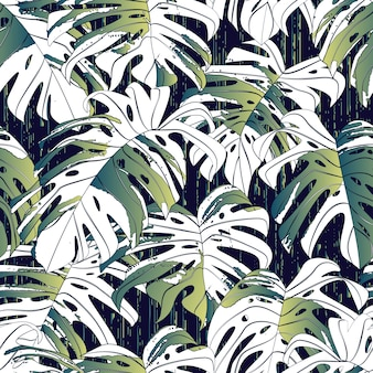 Monstera leaves seamless background