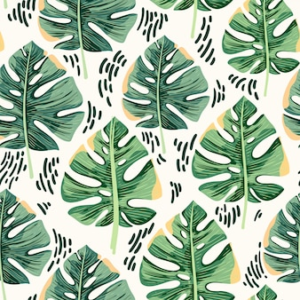 Monstera leaves seamless pattern background
