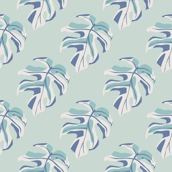 モンステラの葉のシルエットのシームレスなパターン。エキゾチックな枝と水色のパレットの背景。壁紙、テキスタイル、包装紙、布印刷の装飾的な背景。図。