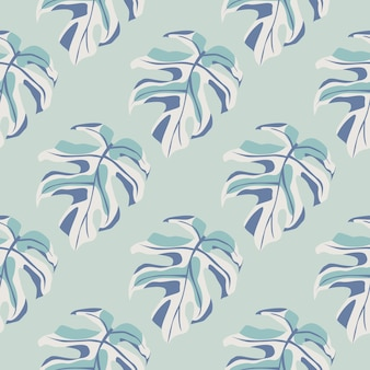 Monstera leaves silhouette seamless pattern. exotic branches and background in light blue palette. decorative backdrop for wallpaper, textile, wrapping paper, fabric print.  illustration.