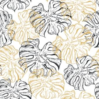 Monstera palm leaf gold line hand drawn seamless pattern