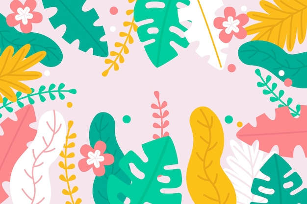 Monstera and palm leaves background