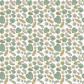 Monstera palm leaves seamless tropical pattern