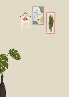 モンステラ植物緑の背景ベクトルかわいい描画