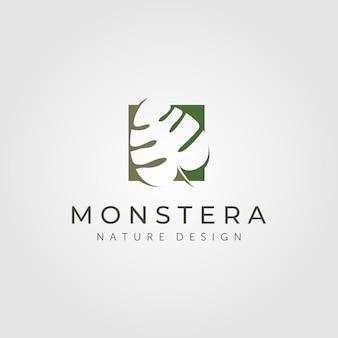 Monstera plant logo isolated on grey