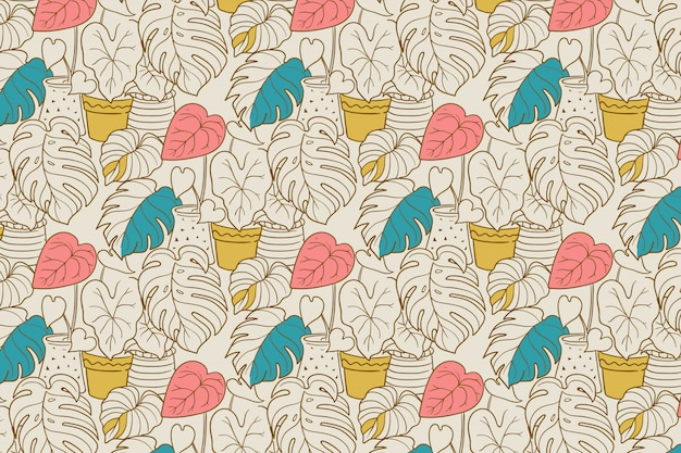 Monstera plant seamless  pattern