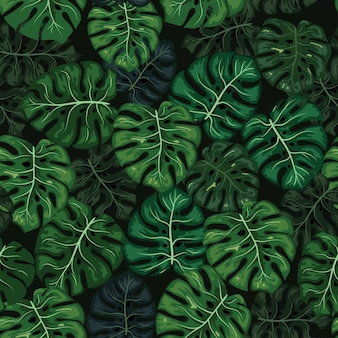 Monstera tropical leaf seamless