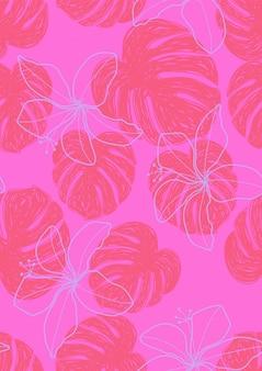 モンステラ熱帯は夏無限パターンを残します。水着のためのエキゾチックなプリント。シームレスな花柄。