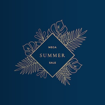 Monstera tropical leaves summer sale card or banner template