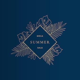 Monstera 열대 잎 여름 판매 카드 또는 배너 템플릿