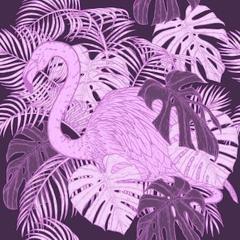 Monstera с рисунком фламинго вручную