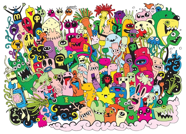 Monsters and alien friendly,cute hand drawn monsters group