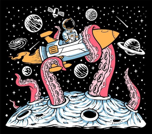 Монстры атакуют ракету космонавта в космосе Premium векторы