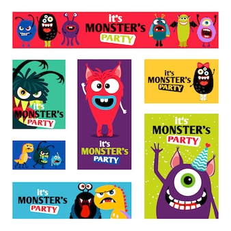 Monsters banners set or monster labels for kids diary